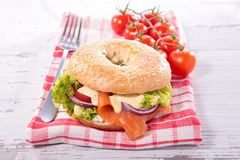 Bagel with smoked salmon Royalty Free Stock Photo