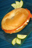 Bagel with soft cheese and smoked salmon Royalty Free Stock Photos
