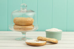 A bagel spread with cheese cream Royalty Free Stock Photo