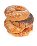 Bagel stack. A tower of different kind of bagels Royalty Free Stock Image