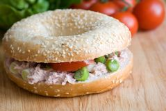 Bagel with tuna Stock Photo