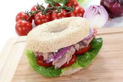 Bagel with tuna Stock Photo