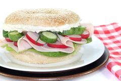 Bagel with turkey breast Royalty Free Stock Photo