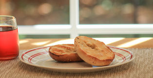 Bagel and a view Royalty Free Stock Images
