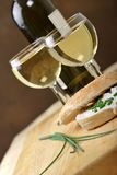 Bagel and wine Stock Image