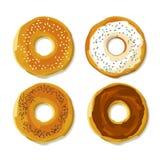 bageln med kärnar ur framlänges stilaffischen royaltyfri illustrationer