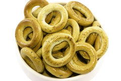 Bagels που συσσωρεύονται στο πιάτο Στοκ φωτογραφία με δικαίωμα ελεύθερης χρήσης
