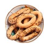bagels σπόροι παπαρουνών πιάτων Στοκ Φωτογραφία