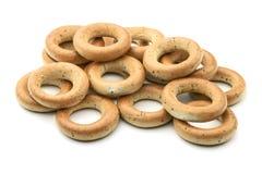 bagels испекли свежую Завтрак бейгл на изолированной белой предпосылке Стоковое Изображение