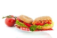 Bagels с сыром и семгами Стоковое Фото