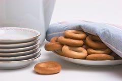 bagels установили чай Стоковое фото RF