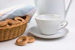 bagels установили чай Стоковое Фото