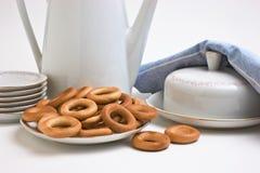 bagels установили чай Стоковая Фотография RF