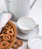 bagels установили чай Стоковая Фотография
