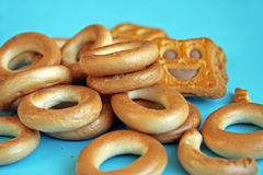 Bagels. Russian bagels and cookies in the form of a smile Stock Photography