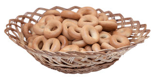 Bagels. The bagels in serving basket, isolated on white Stock Photo