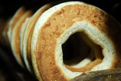 Bagels. Many bagels on shelf in bakehouse 3 Royalty Free Stock Image