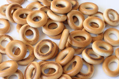 Bagels. On photo heap bagel on white Royalty Free Stock Photo