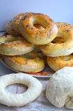 Bagels. Assign the bagels with poppy seeds stock photo