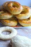 Bagels. Assign the bagels with poppy seeds royalty free stock photography