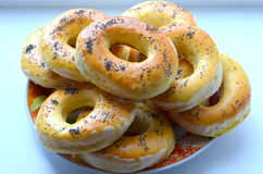 Bagels. Assign the bagels with poppy seeds stock images