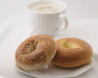Bagels in a Bag. Fresh hot bagels for morning breakfast Stock Images