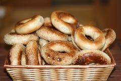 BAGELS IN BASKET. Fresh baked bagal in a basket Royalty Free Stock Photo