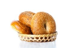 Bagels on a Basket Stock Photo