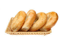 Bagels in a basket Royalty Free Stock Photo