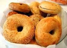 Bagels at Breakfast. A variety of bagels for any meal stock photos