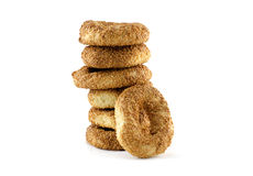 Bagels for breakfast. White background Royalty Free Stock Photos