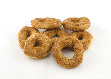Bagels for breakfast. And white background Stock Photography