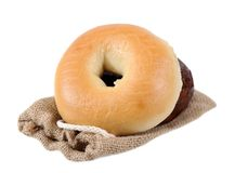 Bagels on burlap bag Stock Photography