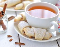 Bagels with cinnamon and a cup of tea Stock Photography