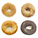 Bagels Collection Isolated on White. Overhead view Stock Image