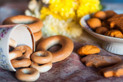 Bagels and cookies royalty free stock photos