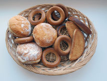 Bagels, crackers, donuts Stock Image