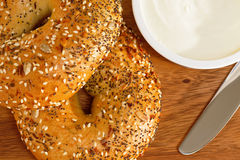 Bagels and cream cheese Royalty Free Stock Photos