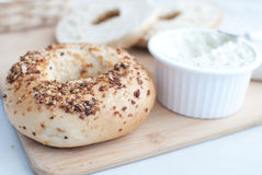 Bagels with cream cheese Royalty Free Stock Photography