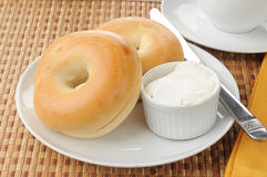Bagels with cream cheese Royalty Free Stock Image