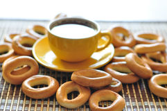 Bagels and cup of coffee Stock Image