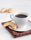 Bagels with coffee. Bagels with cup of coffee stock photo
