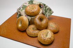 Bagels on a Cutting Board Stock Images