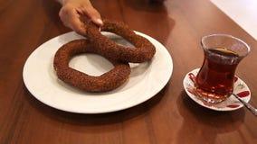 Bagels do chá e do turco video estoque