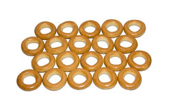 Bagels, drying. Round, tasty bagels on a light background royalty free stock photos
