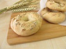 Bagels faits maison de petit déjeuner Photos libres de droits