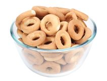 Bagels in a glass dish Stock Image