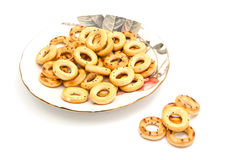Bagels on glass plate. Bagels on glass dish on white background Stock Photography