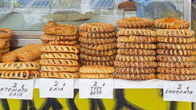 Bagels. Greek koulouri bagels at street vendor in athens Stock Images
