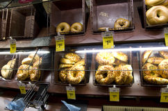 Bagels in grocery store Royalty Free Stock Photo